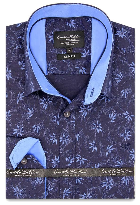 Heren Overhemd - Autumn Leaf - Blauw-1