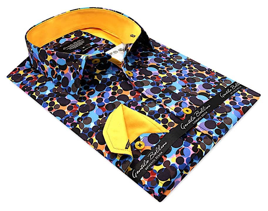 Heren Overhemd - Colored Circles Satin - Blauw-3
