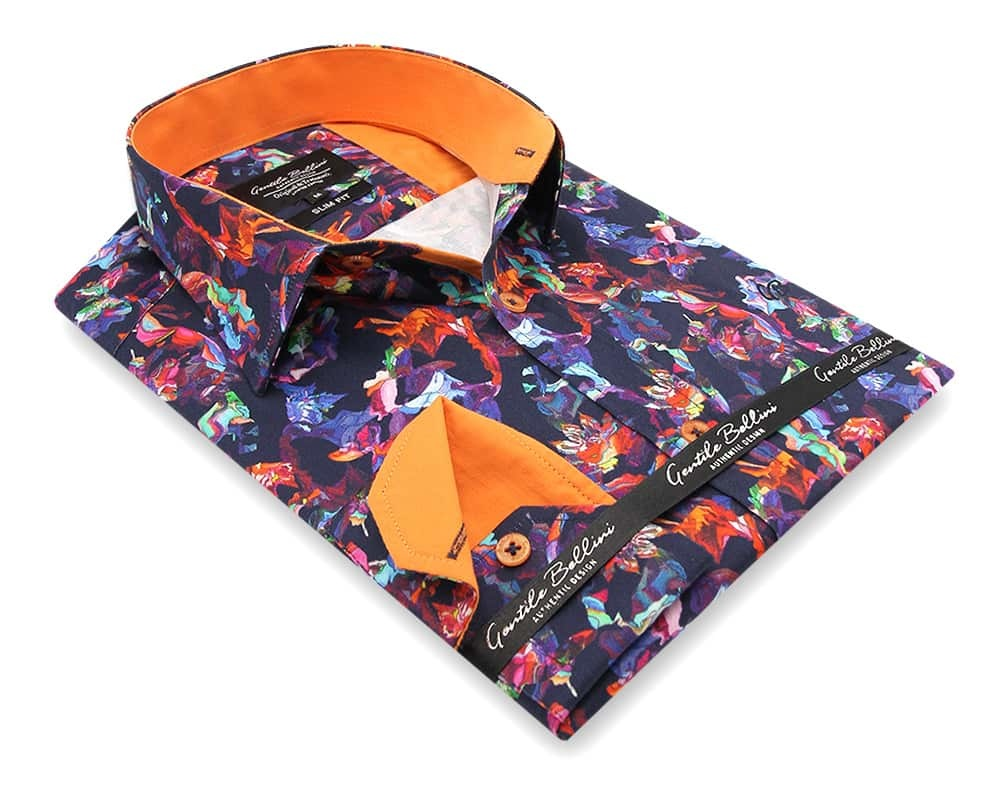 Heren Overhemd - Flower Artwork  Satin - Blauw-3