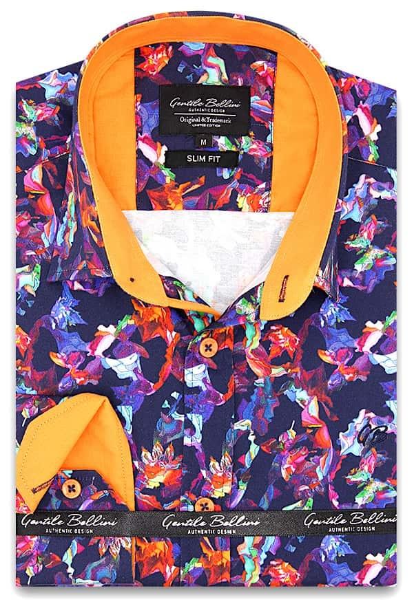 Heren Overhemd - Flower Artwork  Satin - Blauw-1
