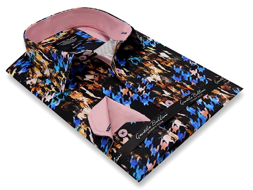 Heren Overhemd - Arafat Shawl Motive Satin - Zwart-3