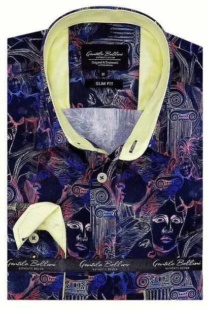 Heren Overhemd - Greek Mythology Satin - Zwart