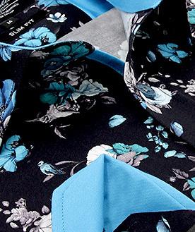 Heren Overhemd - Hyacinth Print Satin - Zwart-2