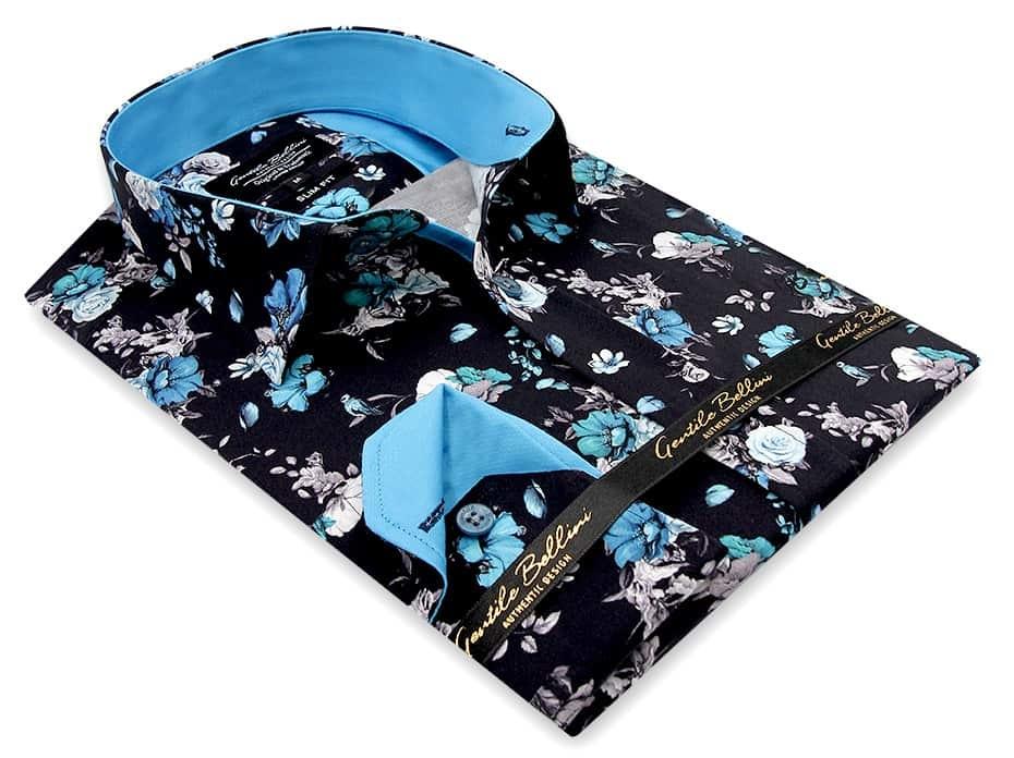 Heren Overhemd - Hyacinth Print Satin - Zwart-3