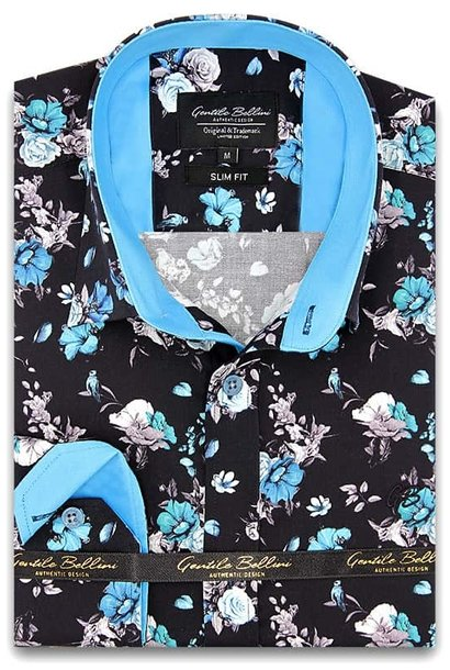 Heren Overhemd - Hyacinth Print Satin - Zwart