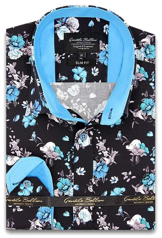 Heren Overhemd - Hyacinth Print Satin - Zwart-1