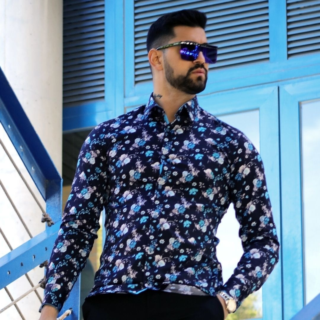 Heren Overhemd - Hyacinth Print Satin - Zwart-4
