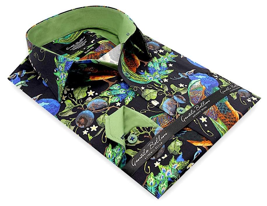 Heren Overhemd - Peafowl Motive Satin - Zwart-3