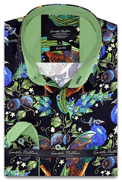 Heren Overhemd - Peafowl Motive Satin - Zwart