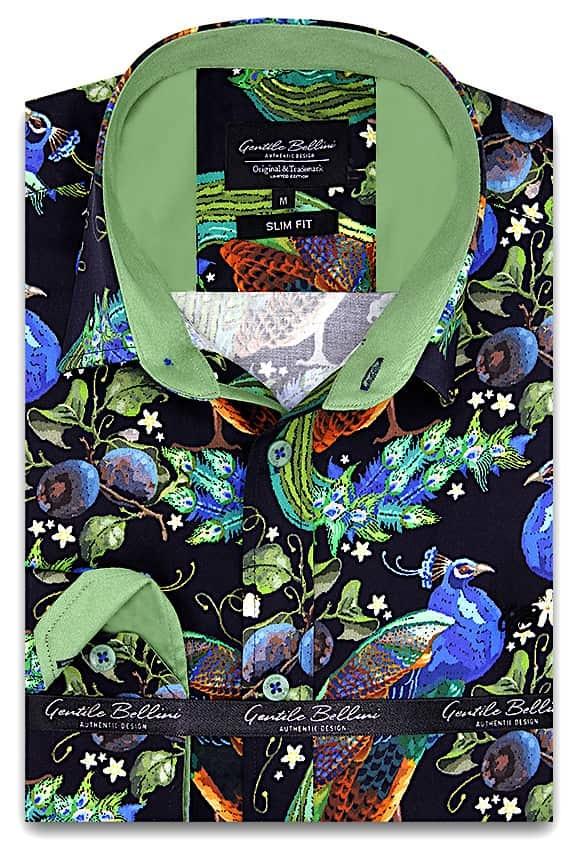 Heren Overhemd - Peafowl Motive Satin - Zwart-1
