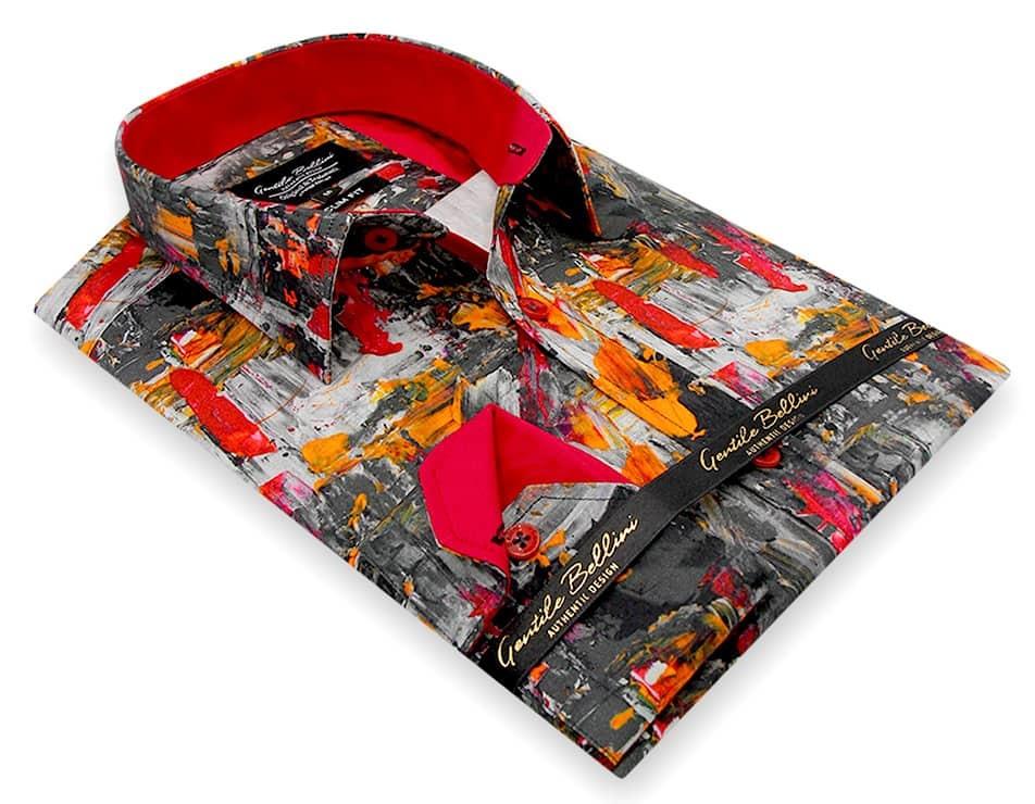 Heren Overhemd - Painted Artwork Satin - Grijs-3