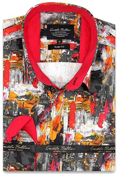 Heren Overhemd - Painted Artwork Satin - Grijs