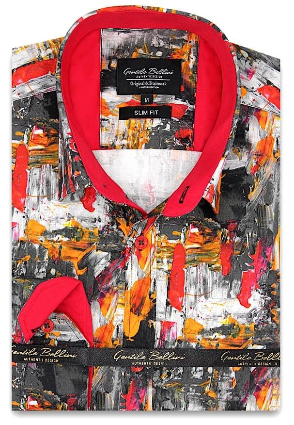 Heren Overhemd - Painted Artwork Satin - Grijs-1