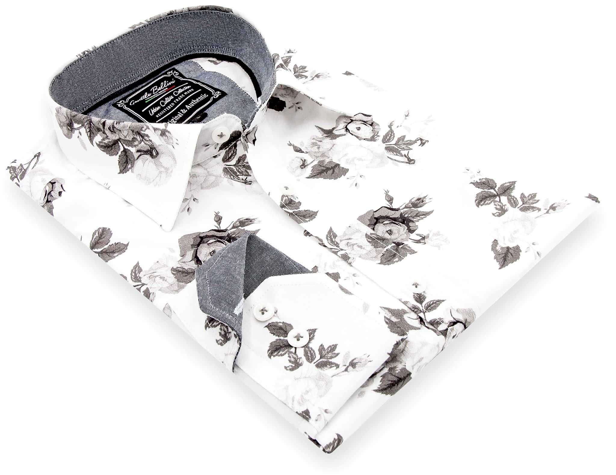 Heren Overhemd - Floral Design - Wit-3