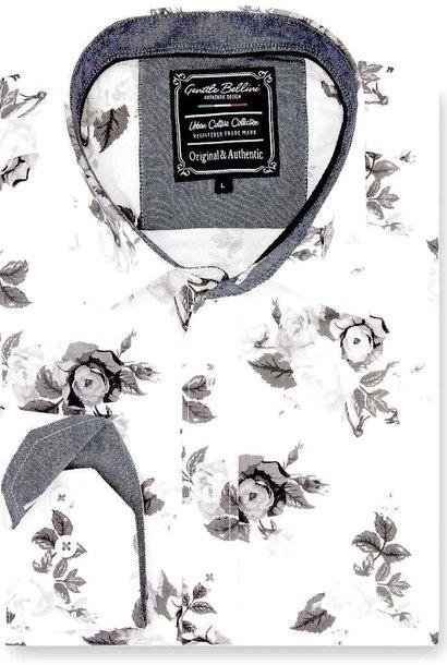 Heren Overhemd - Floral Design - Wit
