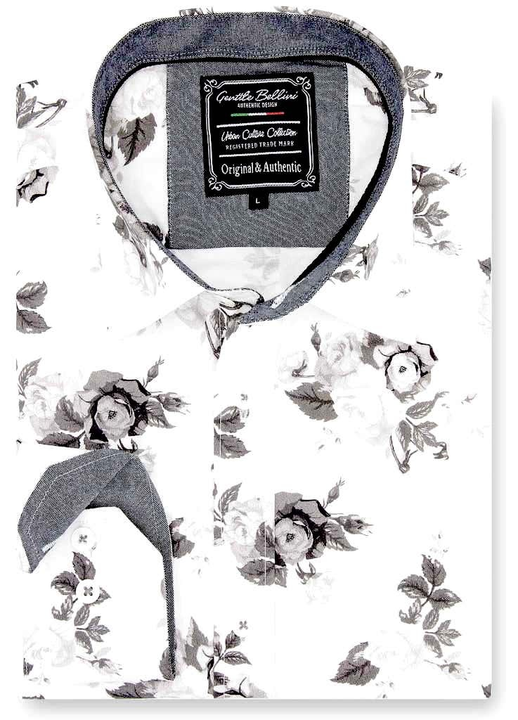 Heren Overhemd - Floral Design - Wit-1