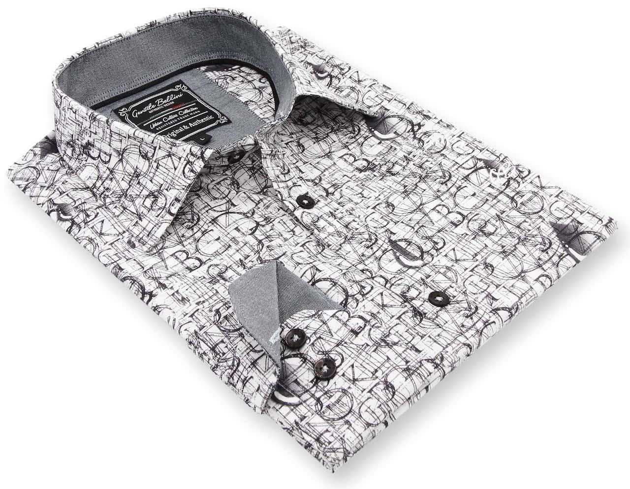 Heren Overhemd - Geometric Alphabet - Wit-3