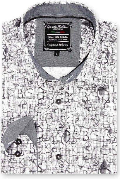 Heren Overhemd - Geometric Alphabet - Wit
