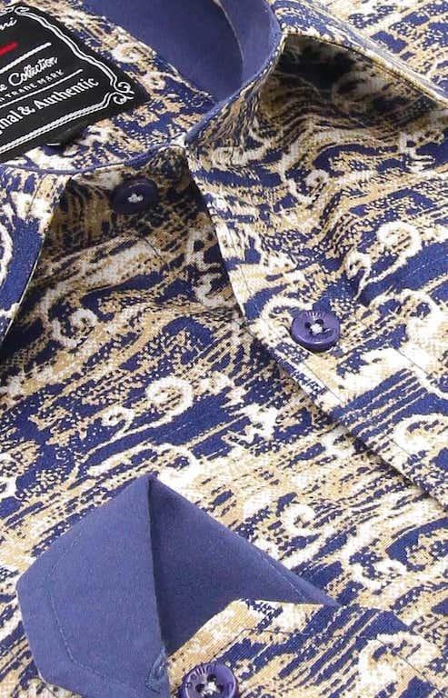 Heren Overhemd - Art Of Ornament - Blauw-2