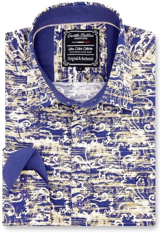 Heren Overhemd - Art Of Ornament - Blauw-1