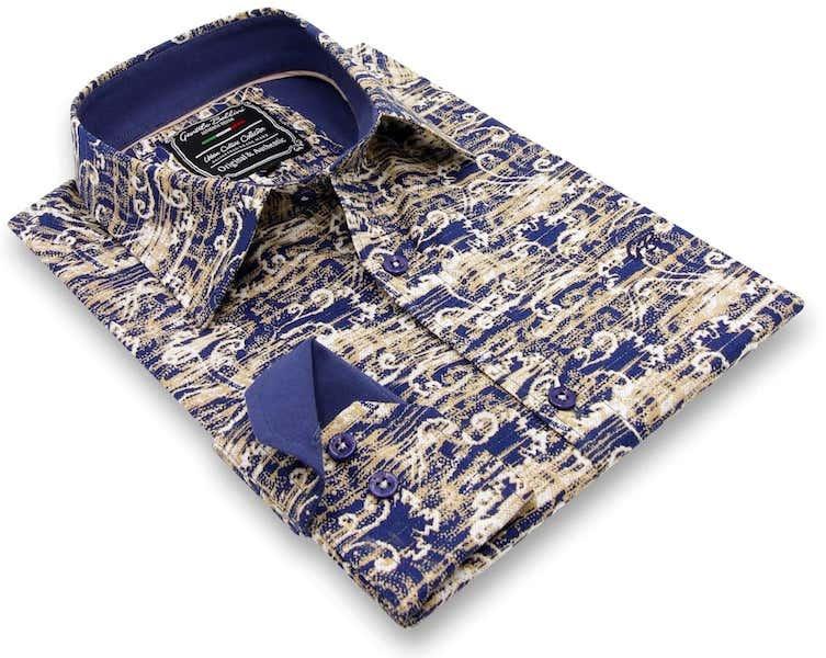 Heren Overhemd - Art Of Ornament - Blauw-3