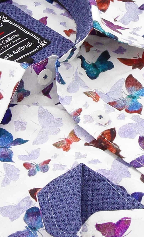 Heren Overhemd - World Of Butterfly - Wit-2