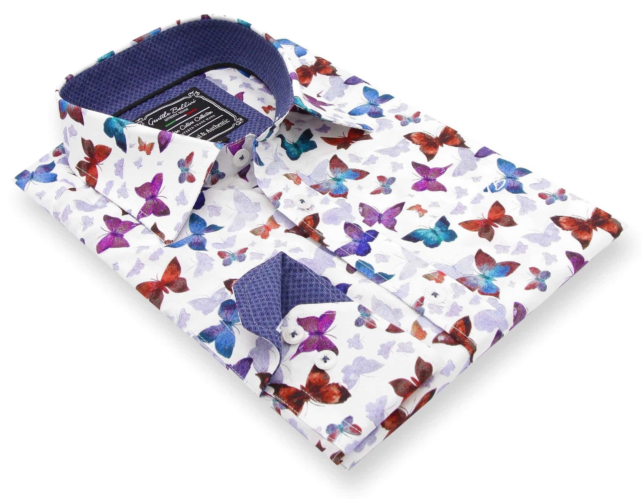 Heren Overhemd - World Of Butterfly - Wit-3