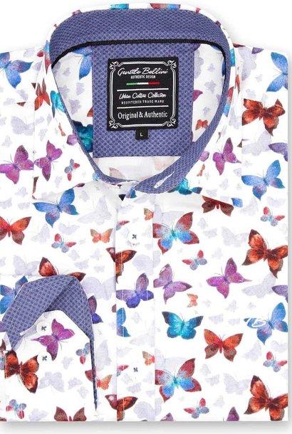Heren Overhemd - World Of Butterfly - Wit