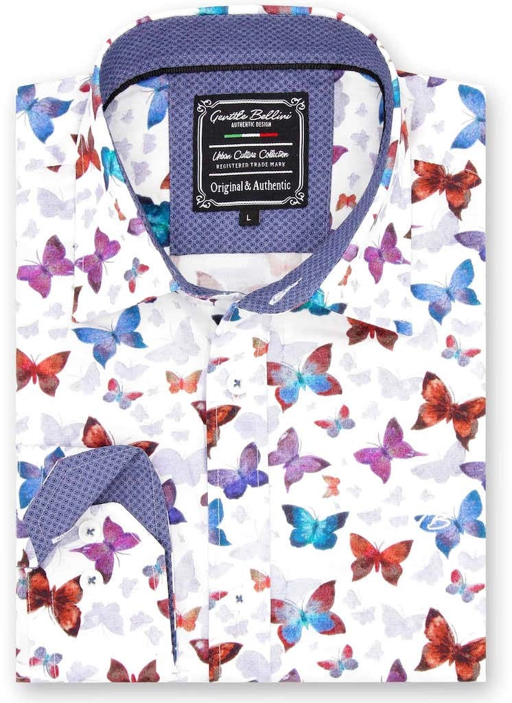 Heren Overhemd - World Of Butterfly - Wit-1