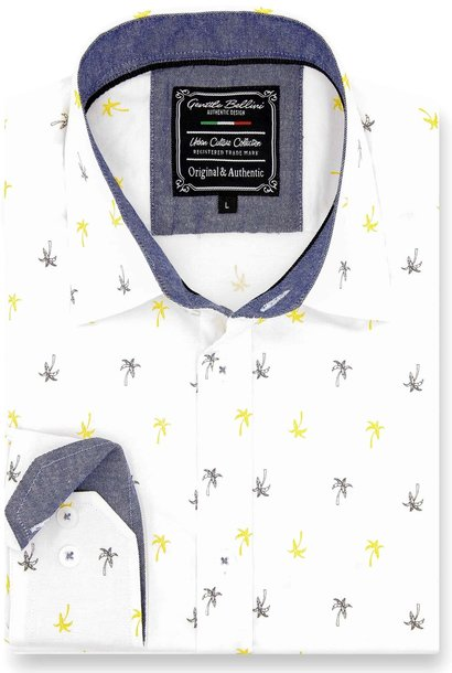 Heren Overhemd - Palm Island - Wit