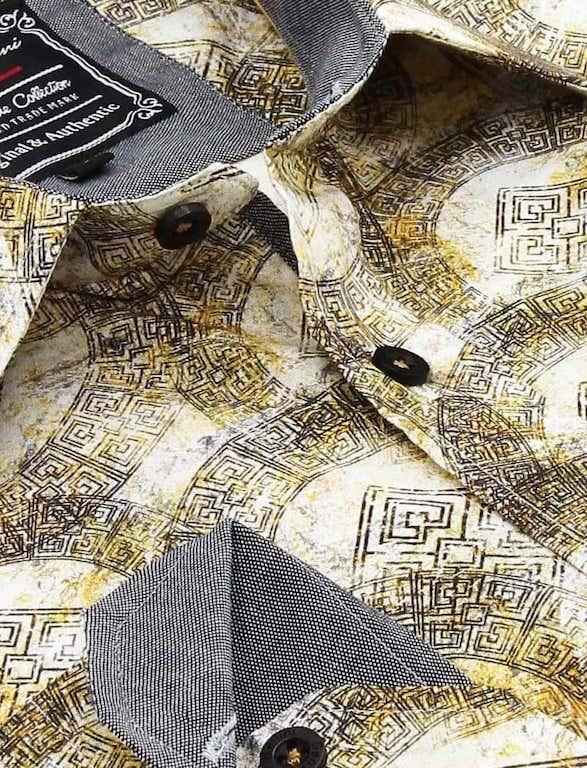 Heren Overhemd - Greek Ornament - Beige-2
