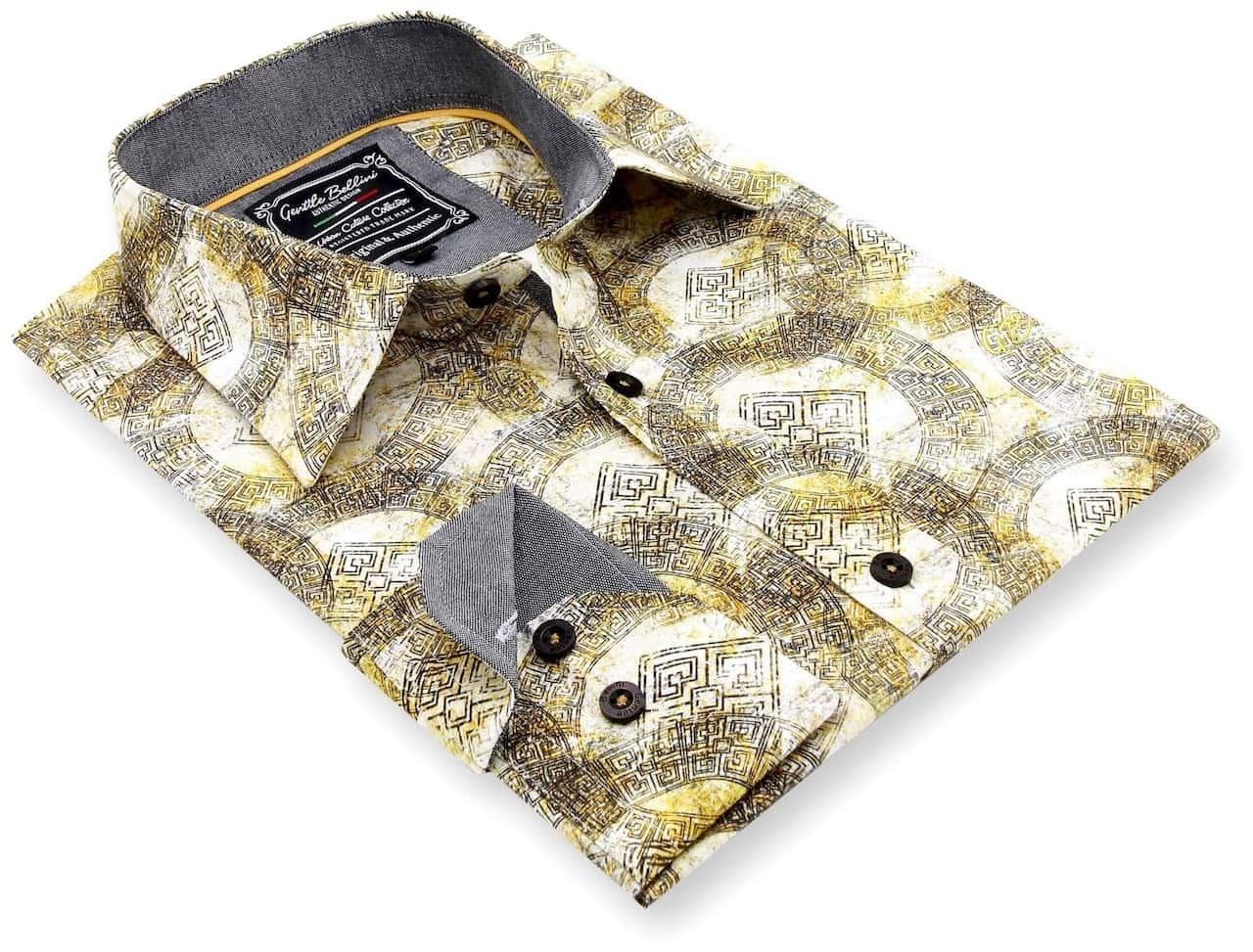Heren Overhemd - Greek Ornament - Beige-3