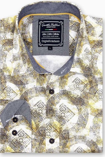 Heren Overhemd - Greek Ornament - Beige