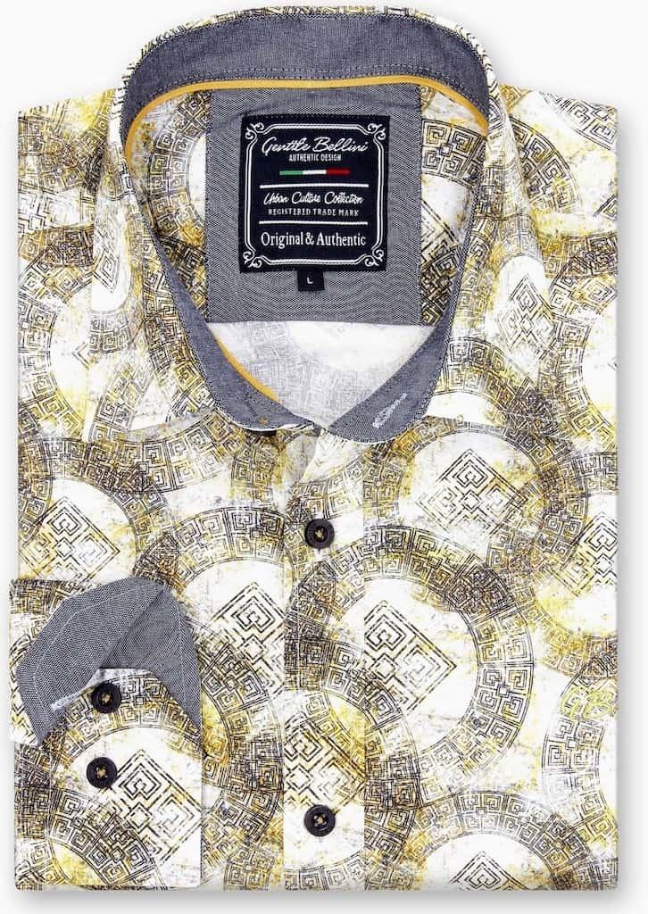 Heren Overhemd - Greek Ornament - Beige-1