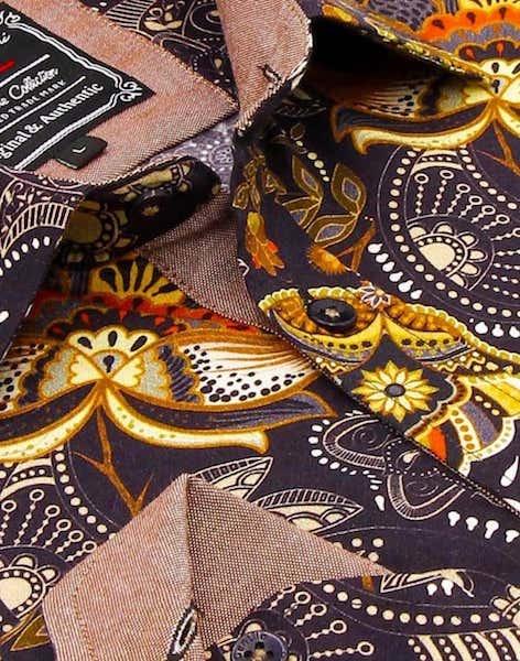 Heren Overhemd - Flower Ornament - Bruin-2