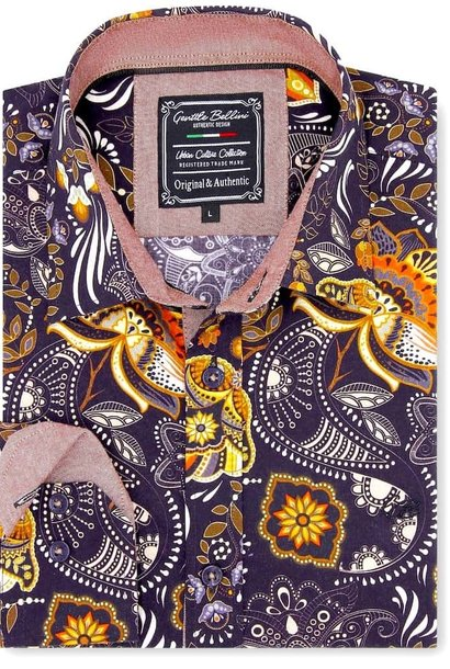 Heren Overhemd - Flower Ornament - Bruin