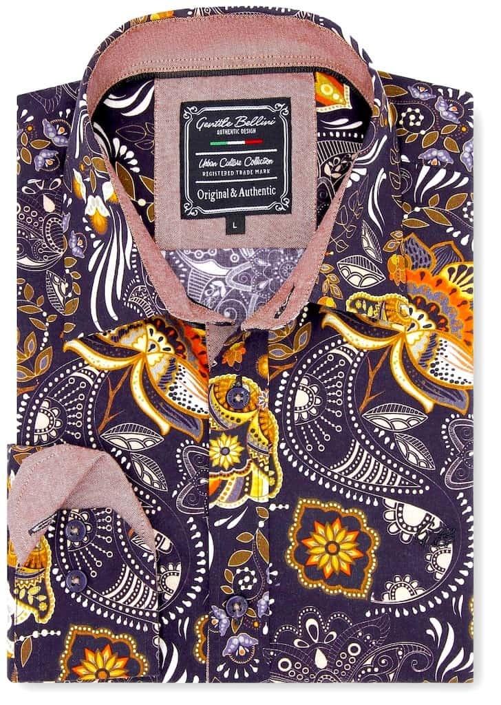 Heren Overhemd - Flower Ornament - Bruin-1