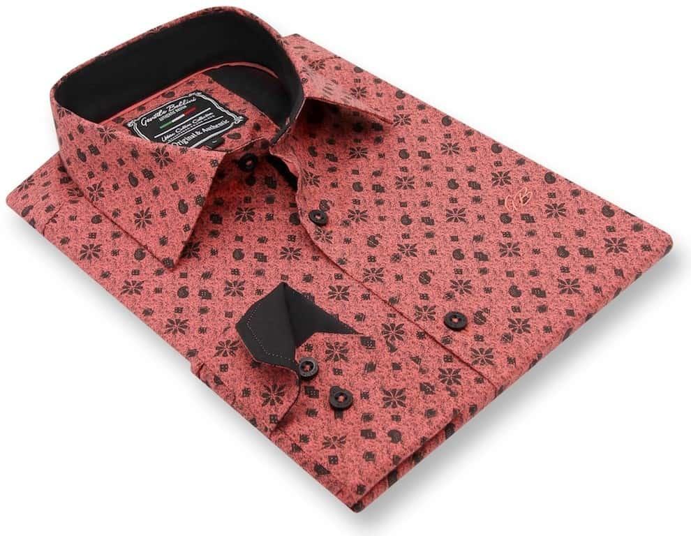 Heren Overhemd - Classy Ornaments - Zalmroze-3