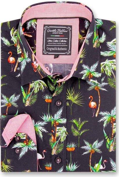 Heren Overhemd - Flamingo Palm Tree - Zwart