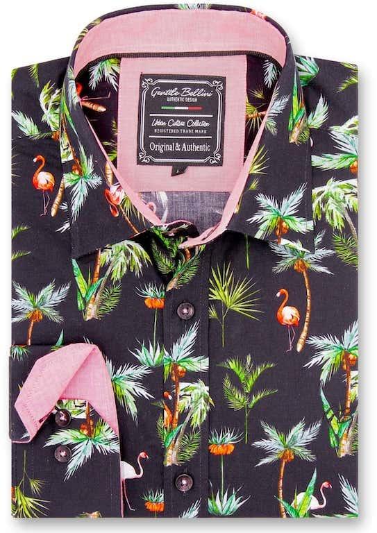 Heren Overhemd - Flamingo Palm Tree - Zwart-1