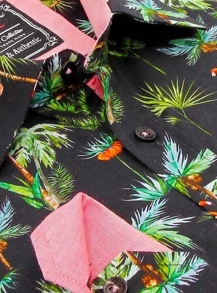 Heren Overhemd - Flamingo Palm Tree - Zwart-2