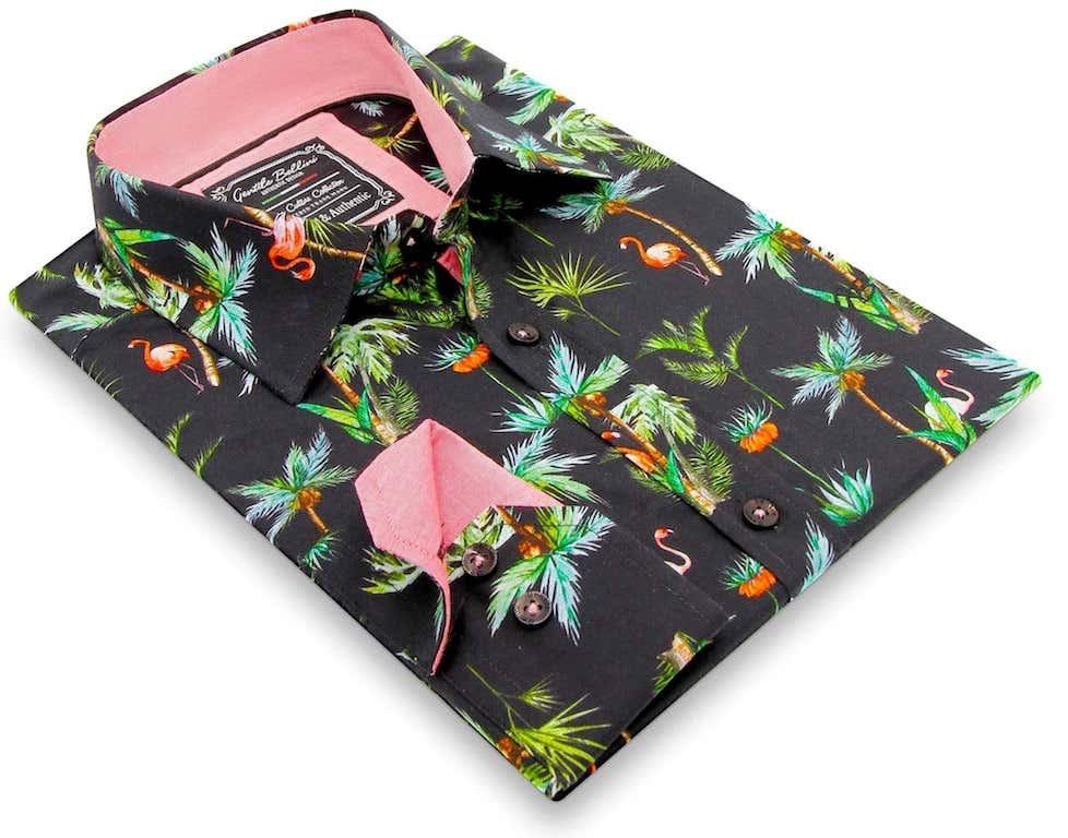 Heren Overhemd - Flamingo Palm Tree - Zwart-3