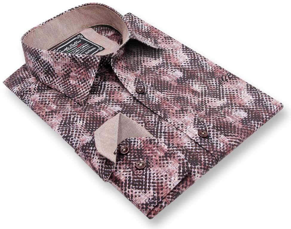 Heren Overhemd - Reptile Skin - Bordeaux-3
