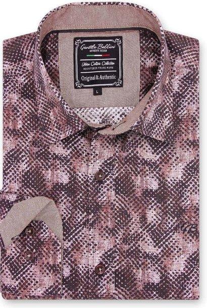 Heren Overhemd - Reptile Skin - Bordeaux