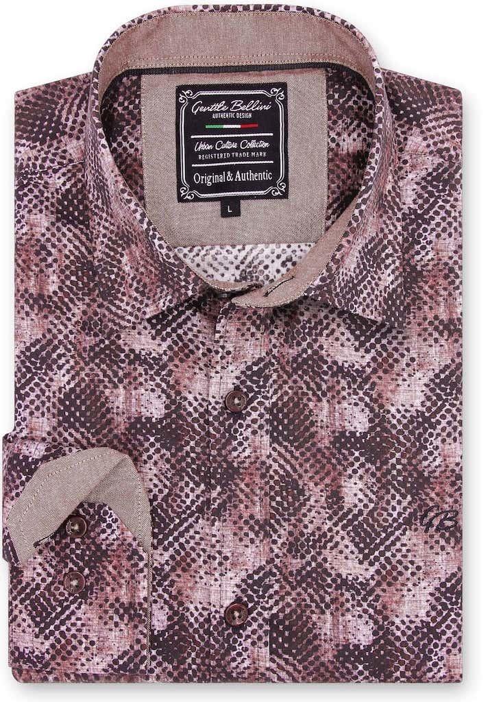 Heren Overhemd - Reptile Skin - Bordeaux-1