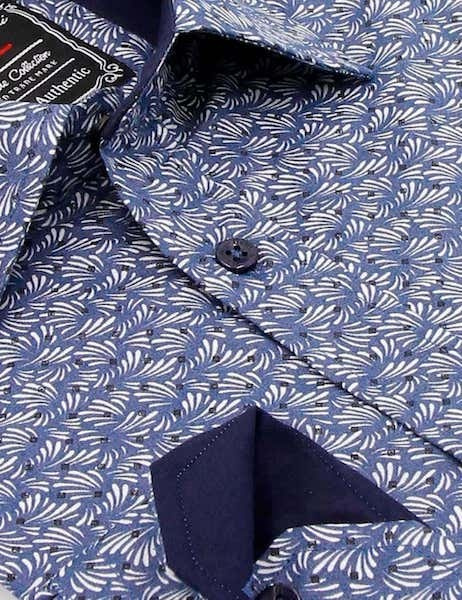 Heren Overhemd - Retro Leaf - Blauw-2