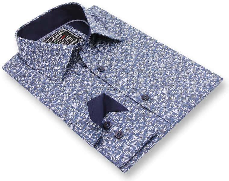 Heren Overhemd - Retro Leaf - Blauw-3