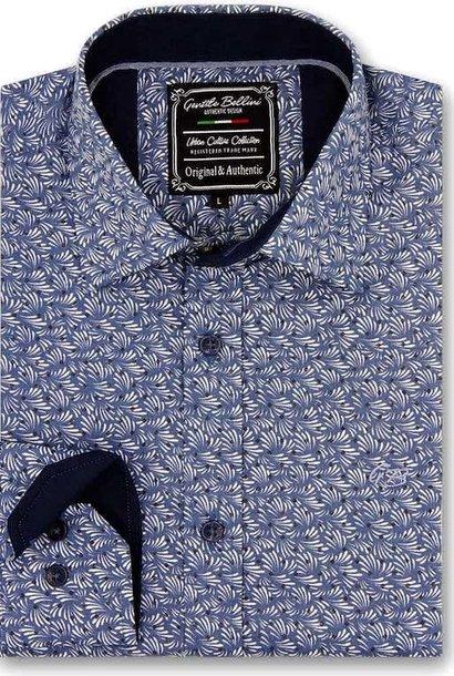 Heren Overhemd - Retro Leaf - Blauw