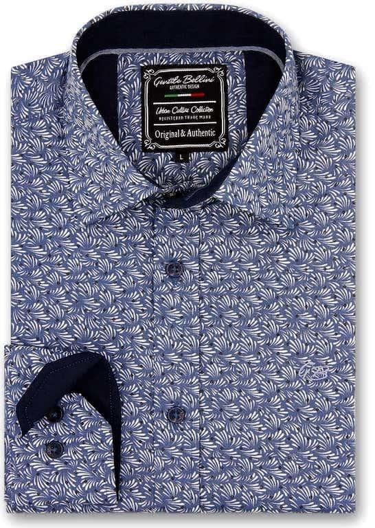 Heren Overhemd - Retro Leaf - Blauw-1