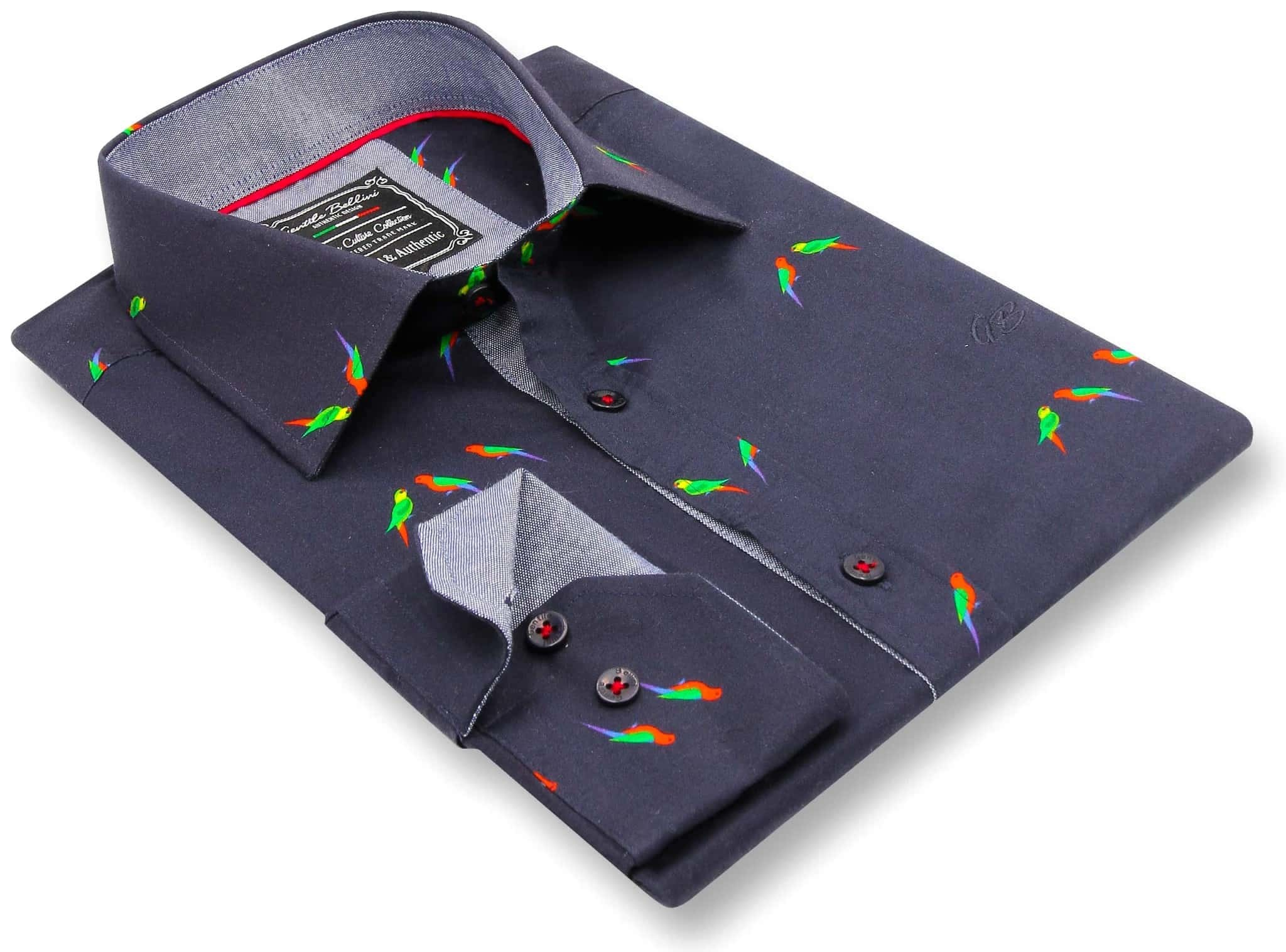 Heren Overhemd - Parakeet Lovers - Blauw-3
